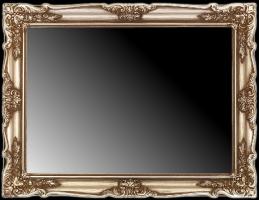 Lustro w srebrnej ramie drewnianej, dekoracyjnej