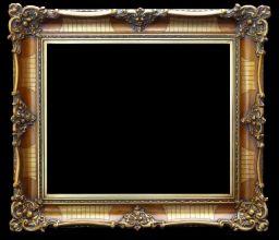 Rama stylowa do lustra lub obrazu, pokrycie płatki złota / patyna. Szerokość profilu ramy 10,5cm.