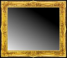Klasyczna rama złocona z lustrem fazowanym.