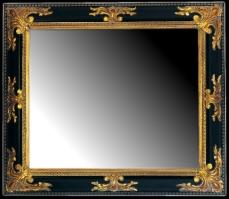 Czarna szeroka rama z dekoracyjnym, złoconym motywem