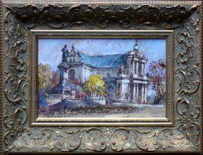 Waldemar Żaczek 'Pomnik Mickiewicza w Warszawie' obraz olejny 18,5 x 29cm.