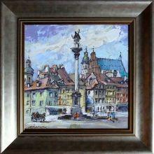 Waldemar Żaczek 'Plac Zamkowy w Warszawie' obraz olejny 23,5 x 23,5 akryl wym. zew. z ramą 57 x 72cm