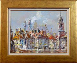 Adam Nowakowski 'Plac Zamkowy w Warszawie' obraz olejny 30 x 40cm