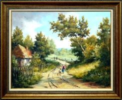 Roman Kornecki - obraz olejny - Droga przez wieś
