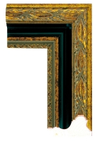 Rama drewniana dekoracyjna, złocona z motywem liści