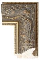 Szeroka rama drewniana stylowa, złocona i patynowana