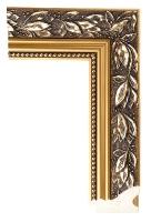 Rama drewniana stylowa, złocona z motywem liści