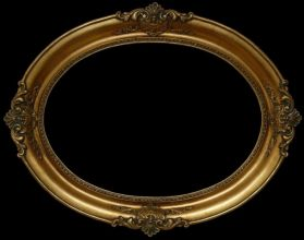 Rama Owalna pokryta płatkami złota (szlagmetal)   nr: ov51