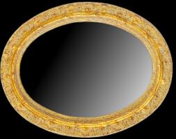 Rama owalna, złocona, wykonana z litego drewna sosnowego.